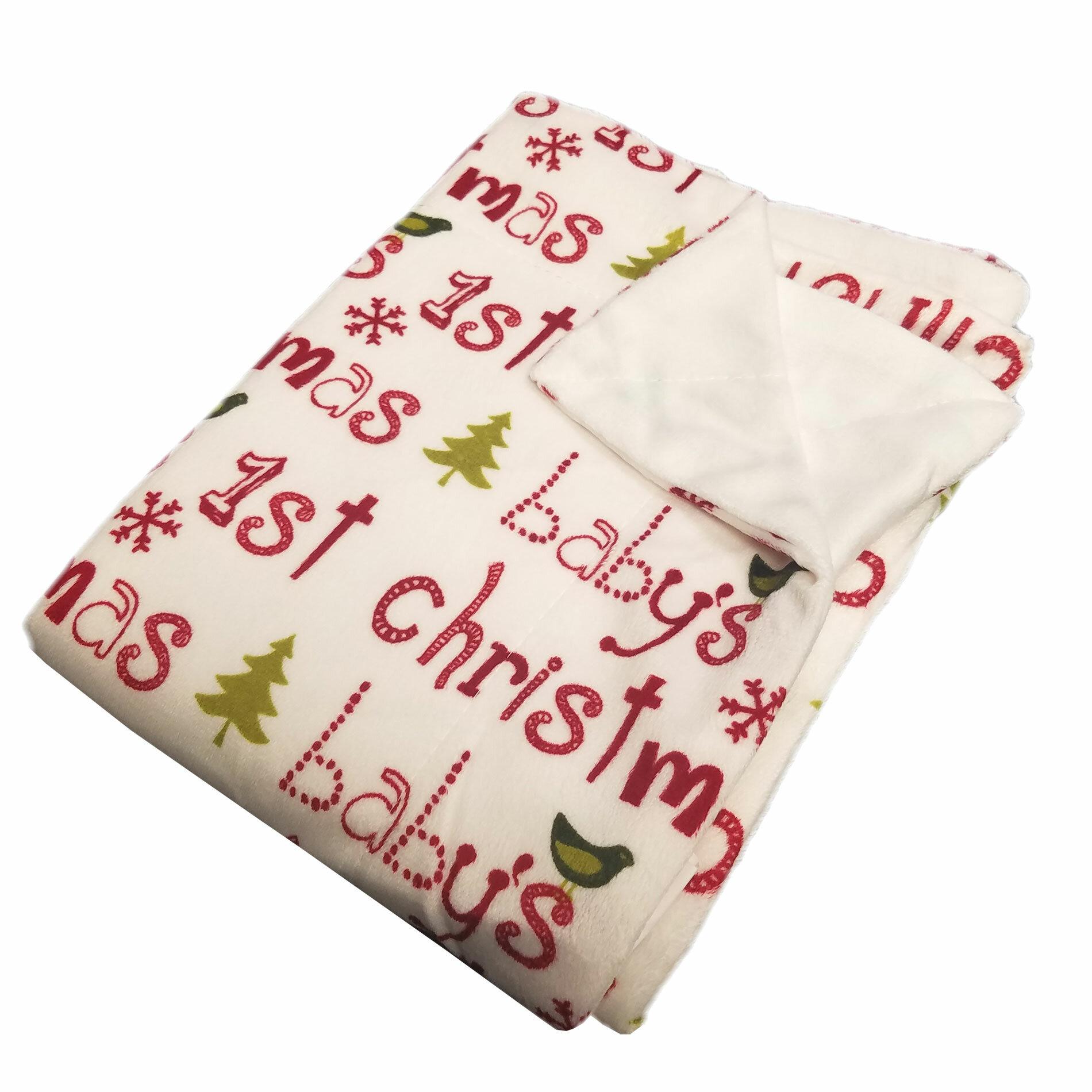 The Holiday Aisle ConCo Baby's 1st Christmas Micro plush Baby Blanket | Wayfair