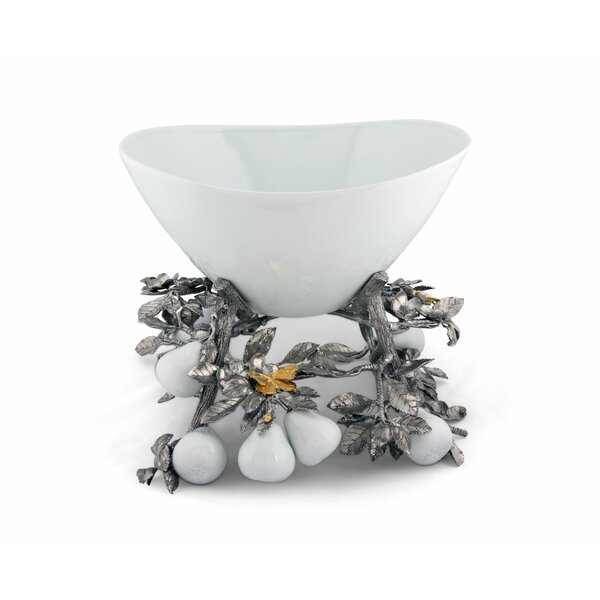 Harvest Pewter Pears and Leaves Centerpiece Porcelain Dessert Bowl