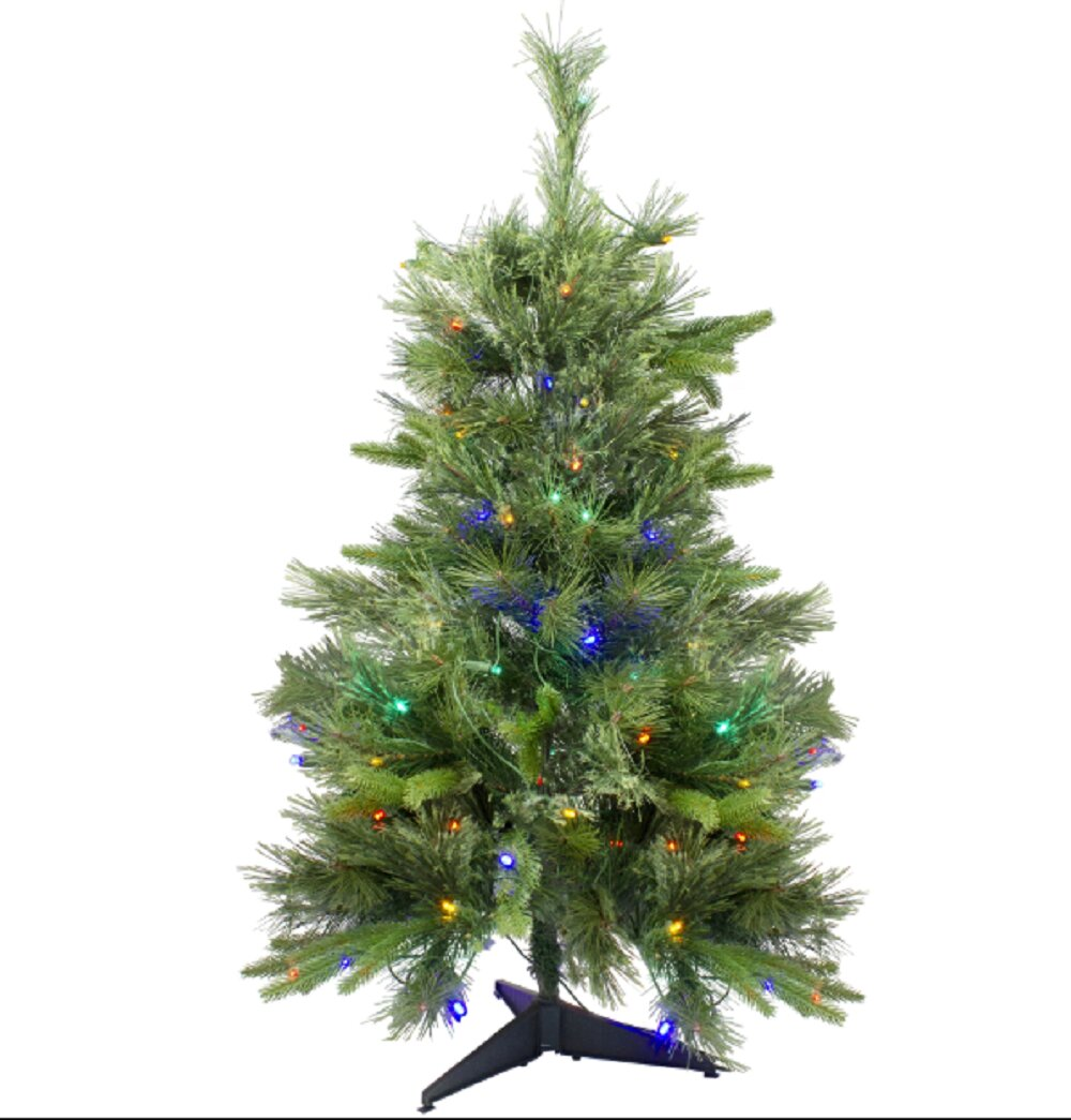 Vickerman 3 Cashmere Pine Artificial Christmas Tree with 100 Multi-colored LED lights