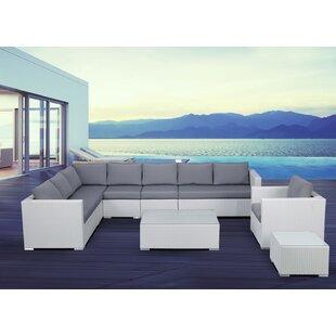 Grijalva 7 Piece Rattan Sectional Set with Cushions ByBrayden Studio
