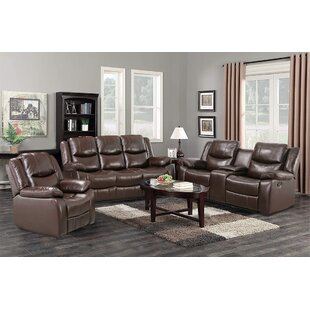 Sofa Set Manual Recliners With Cup Holders Pu Leather Overstuffed Loveseats Reclining Sofas by Red Barrel Studio®
