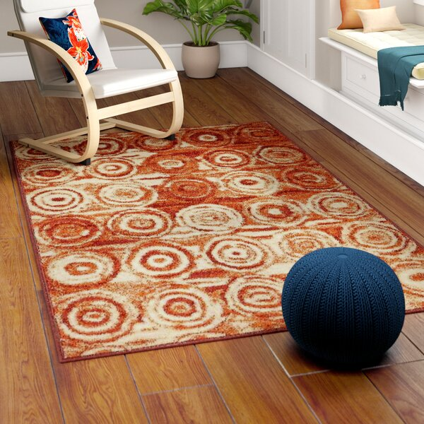Bryan Terracotta Geometric Area Rug by Ebern Designs