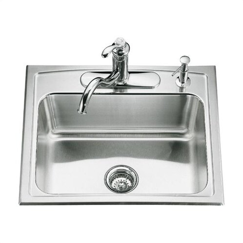 Toccata 25 L x 22 W x 7-11/16 Top-Mount Single-Bowl Kitchen Sink with 4 Faucet Holes by Kohler