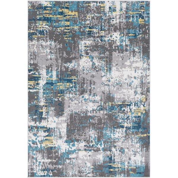 Azurine Distressed Abstract Teal/Gray Area Rug by Ebern Designs