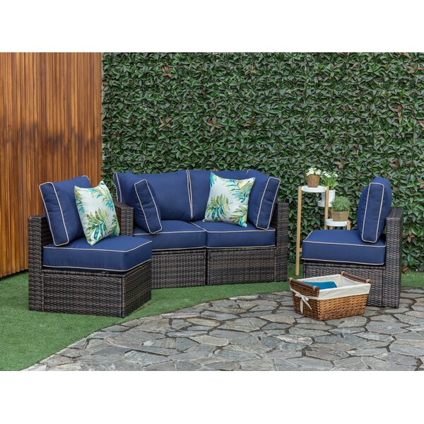 Soukup Outdoor 4 Piece Sectional Seating Group with Cushions by Breakwater Bay