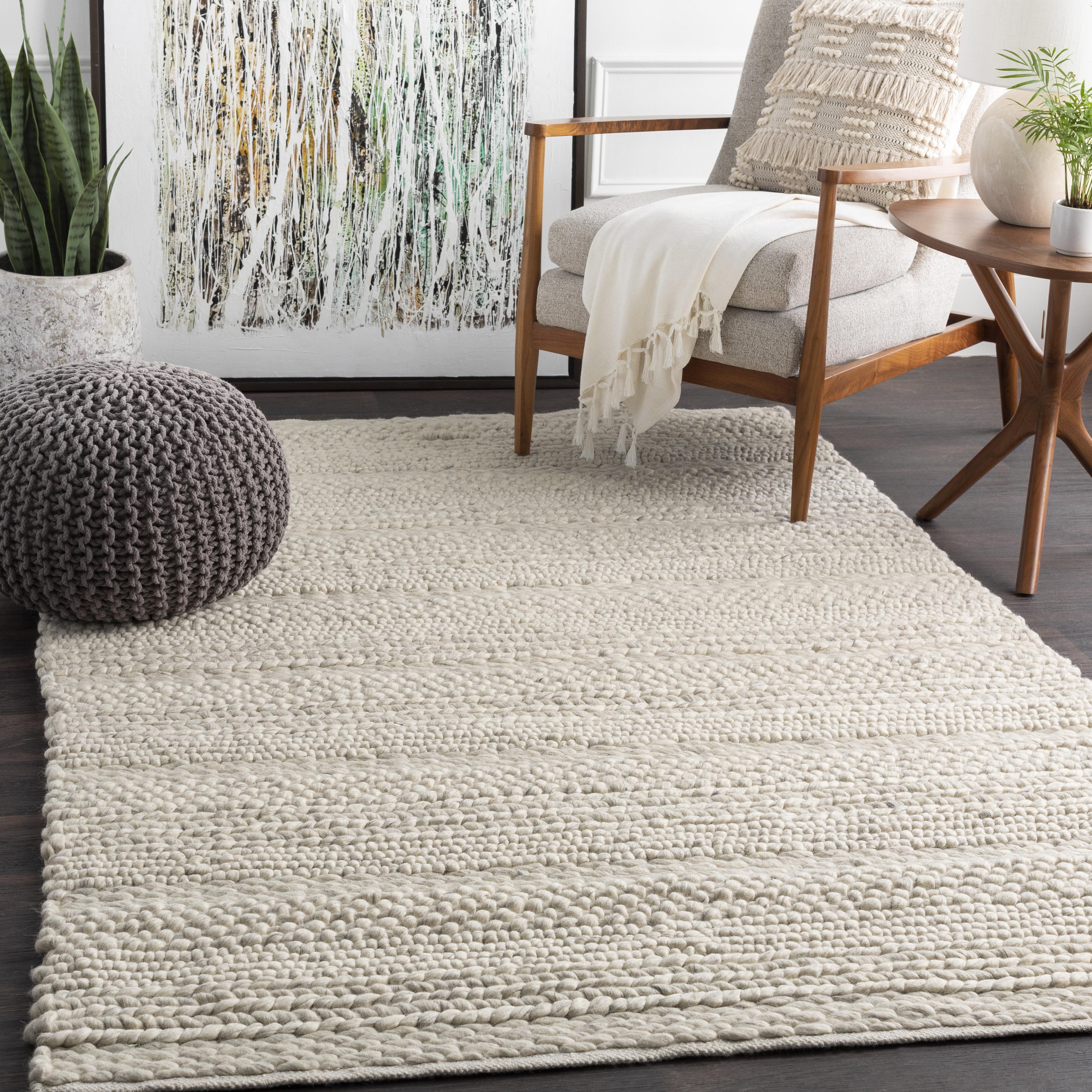 Jocelyn Handmade Flatweave Wool White Charcoal Area Rug Allmodern