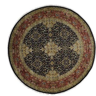 Compare prices One-of-a-Kind Ruelas Revival New Zealand 300 Kpsi Hand-Knotted Black Area Rug ByAstoria Grand