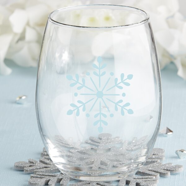 Snowflake 15 Oz. Stemless Wine Glass (Set of 4) by Kate Aspen