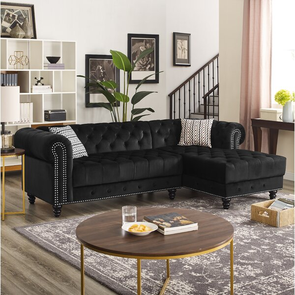 Lora Velvet Right Facing Sectional by House of Hampton