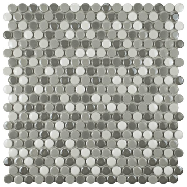 Tucana 0.59 x 0.59 Porcelain Mosaic Tile in Gray/White by EliteTile