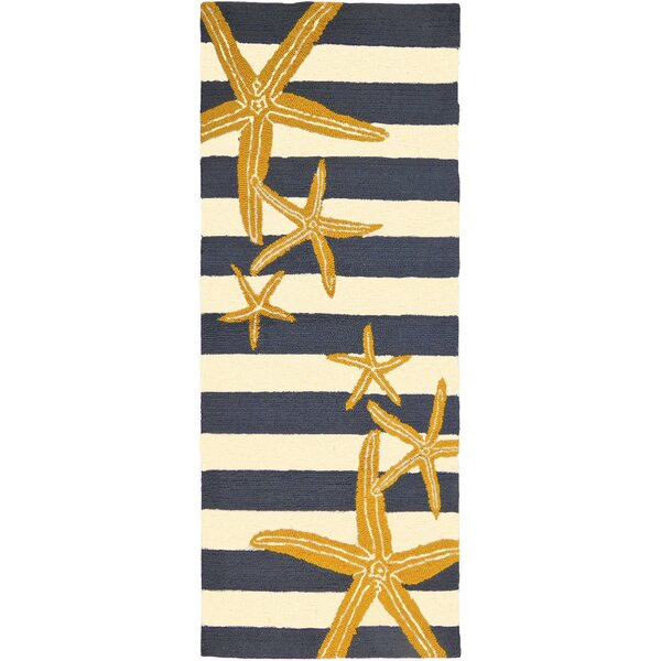Tiarra Starfish Gunmetal Hand-Woven Blue/Yellow Indoor/Outdoor Area Rug by Highland Dunes