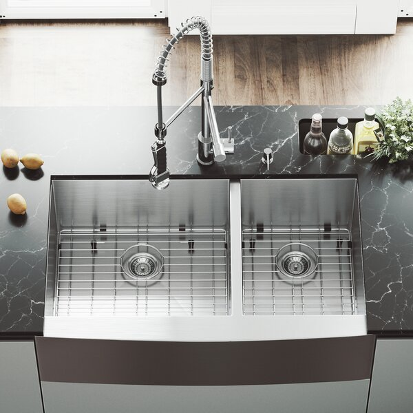 All in One 36 L x 22 W Double Basin Farmhouse/Apron Kitchen Sink with Zurich Faucet, Grids, Strainers and Soap Dispenser by VIGO