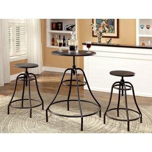 Marlett 3 Piece Adjustable Height Pub Table Set by Hokku Designs
