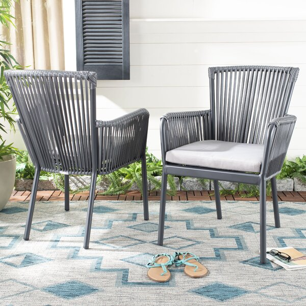 Mahaffey Rope Stacking Patio Dining Chair with Cushion (Set of 2) by Ivy Bronx