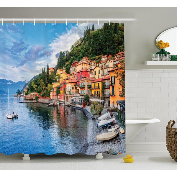 Italian Yacht Boat Idyllic Town Shower Curtain by East Urban Home