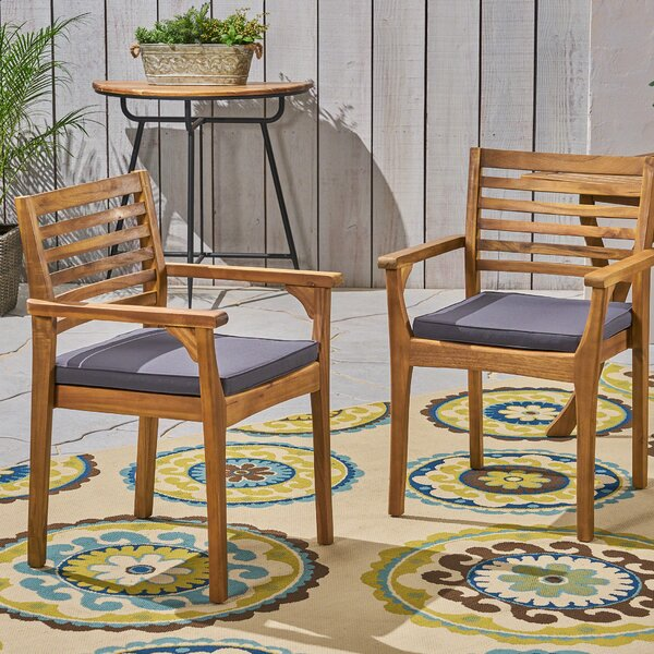 Cleghorn Patio Dining Chairs with Cushions (Set of 2) by Union Rustic