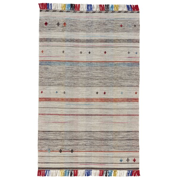 Reichel Flat Woven Wool Light Gray Area Rug by Bloomsbury Market