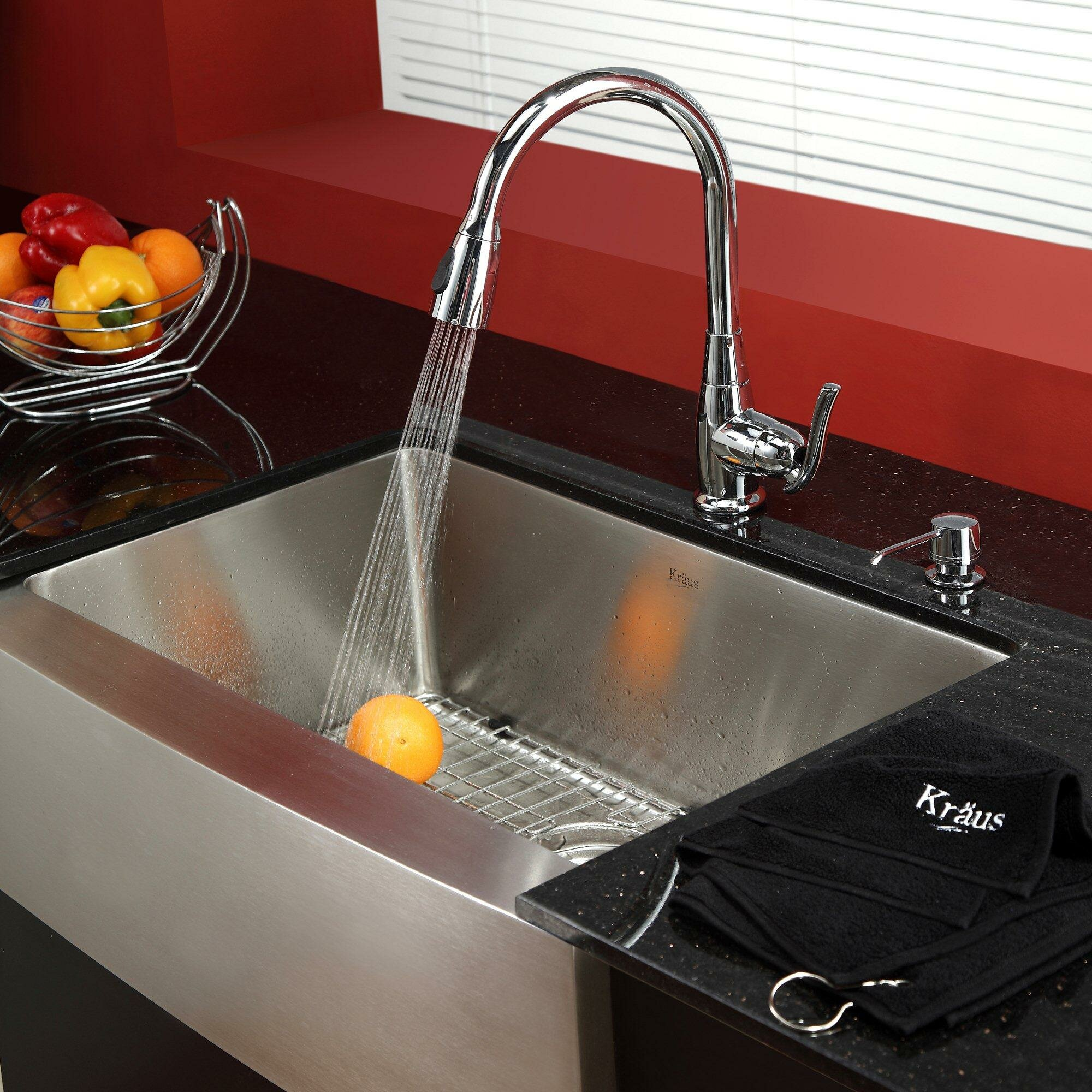 """Kraus 29 75"""" x 20"""" Farmhouse Kitchen Sink with Faucet and Soap"""