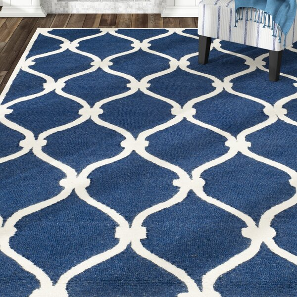 Leighton Wool Hand-Tufted Navy/Ivory Area Rug by Beachcrest Home