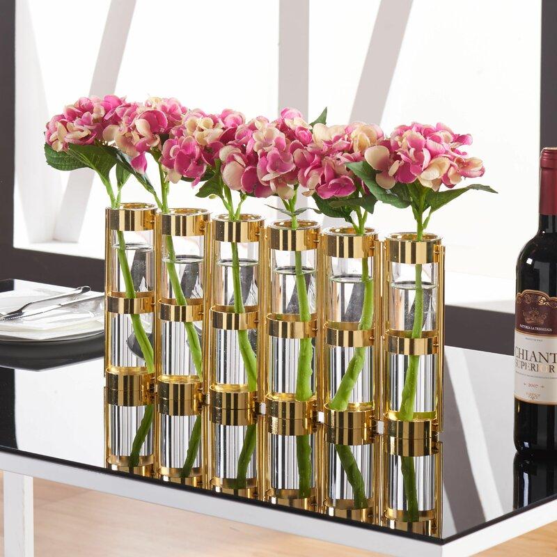 7 Piece Metallic Vase Set with Stand