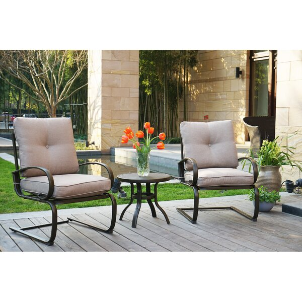 Erin 3 Piece Patio 2 Person Seating Group with Cushions by Charlton Home