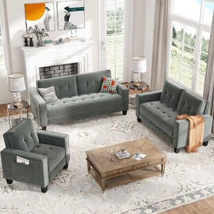 Orisfur. Sofa Set Morden Style Couch Furniture Upholstered Armchair, Loveseat And Three Seat For Home Or Office (1+2+3-Seat) (Set of 3) by Latitude Run®