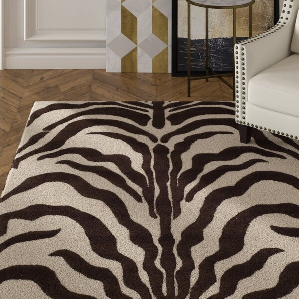 Roloff Hand-Tufted Wool Ivory/Brown Area Rug by Mercer41