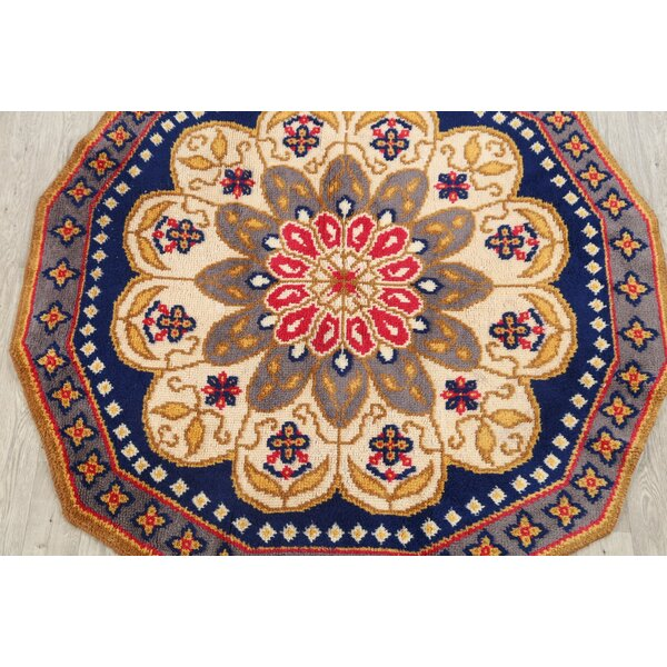 Indianapolis Rya Oriental Hand-Woven Wool Beige/Red/Blue Area Rug by Bloomsbury Market