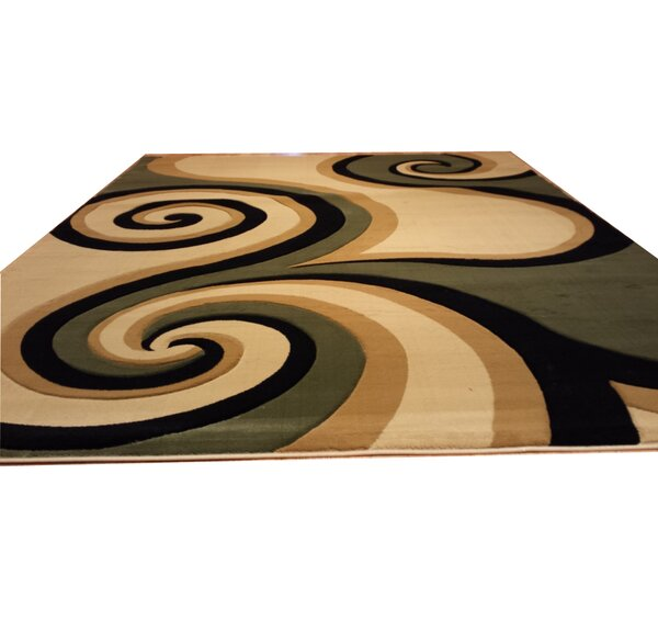 Hand-Carved Green/Biege/Black Area Rug by Rug Tycoon