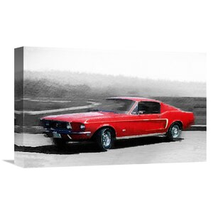 '1968 Ford Mustang Watercolor' Painting Print on Wrapped Canvas by Naxart