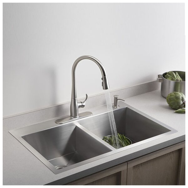 Vault 33 L x 22 W x 9-5/16 Top-Mount/Under-Mount Large/Medium Double-Bowl Kitchen Sink with Single Faucet Hole by Kohler