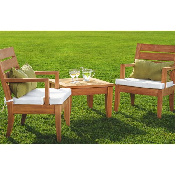 Mahan 3 Piece Teak Seating Group by Rosecliff Heights