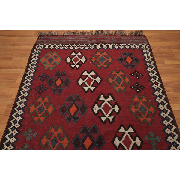 One-of-a-Kind Rarick Kilim Persian Hand-Knotted Wool Burgundy/Beige Area Rug by Astoria Grand
