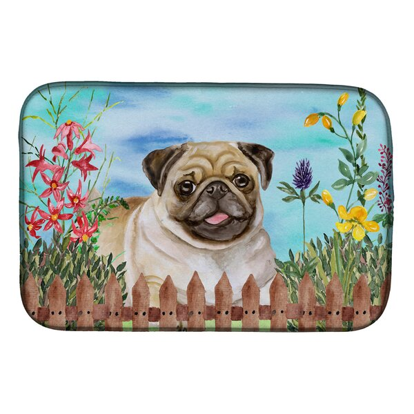 Fawn Pug Spring Dish Drying Mat by Caroline's Treasures
