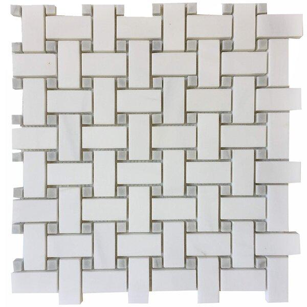Basket Weave 1 x 2 Marble Mosaic Wall & Floor Tile in Bianco Dolomite