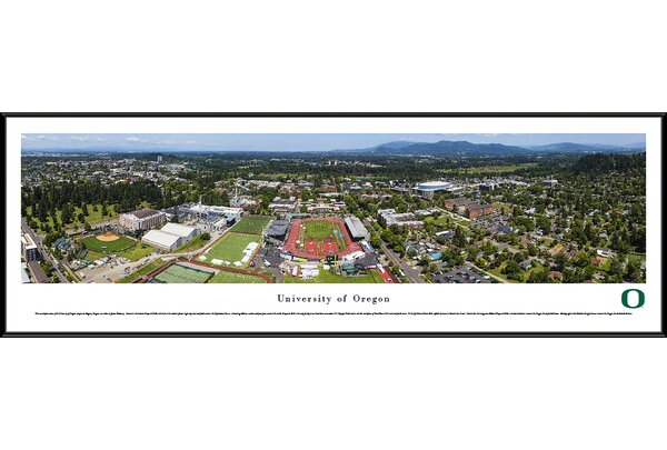NCAA Oregon, University of - Aerial by James Blakeway Framed Photographic Print by Blakeway Worldwide Panoramas, Inc