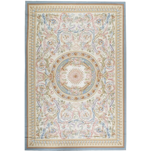 One-of-a-Kind Aubusson Renaissance Hand-Knotted Beige/Blue/Pink 11'9 x 17'10 Wool Area Rug
