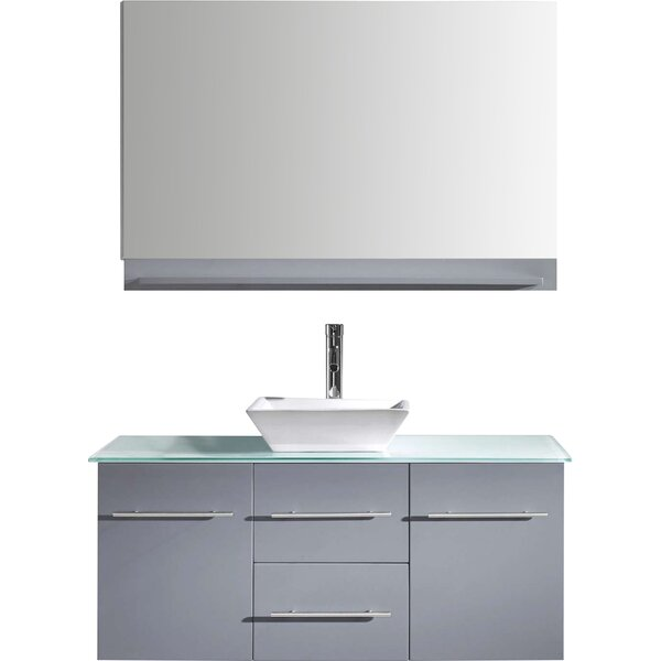 Decastro 47 Wall-Mounted Single Bathroom Vanity Set with Mirror by Mercury Row