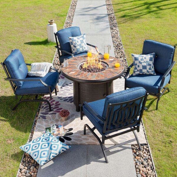Beil 5 Piece Sofa Multiple Chairs Seating Group with Cushions by Darby Home Co