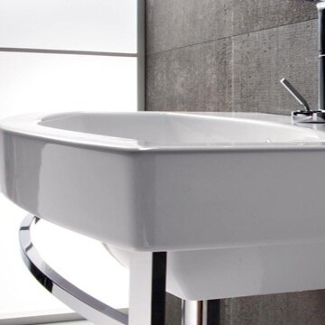 Losagna Glossy White Ceramic Rectangular 24 Wall Mount Bathroom Sink with Overflow