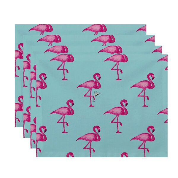 Felice Flamingo Martini Placemat (Set of 4) by Ivy Bronx