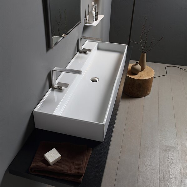 Teorema Ceramic 48 Wall Mount Bathroom Sink by Scarabeo by Nameeks