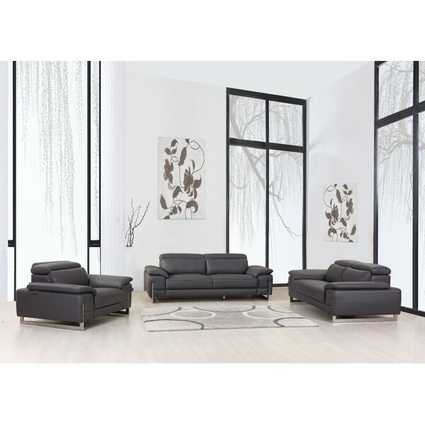 Allon 3 Piece Leather Living Room Set by Orren Ellis