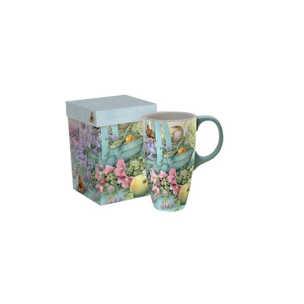 Longeville Basket of Flowers Latte Mug by August G