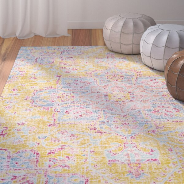 Lyngby-Taarbæk Bright Yellow Area Rug by Bungalow Rose