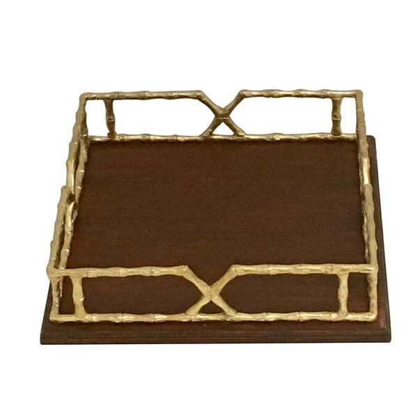 Hoston Wood Accent Tray with Metal Handles by Light & Living