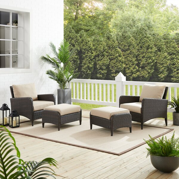 Mosca 4 Piece Rattan Seating Group with Cushions by World Menagerie