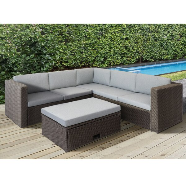 Alstead 4 Piece Sectional Seating Group with Cushions by Charlton Home