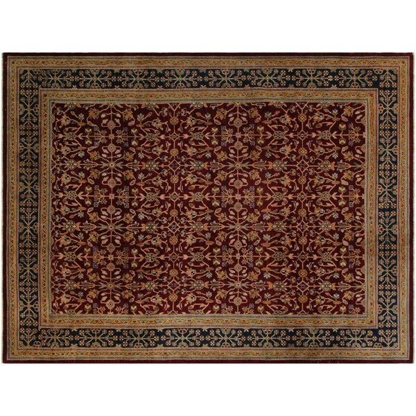 Badham Transitional Hand-Knotted Wool Red/Blue Area Rug by Bloomsbury Market