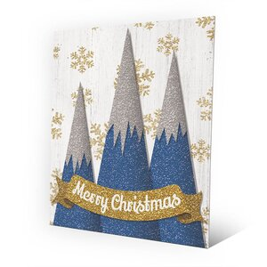 'Merry Christmas Mountains' Graphic Art on Plaque in Blue